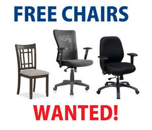 Wanted: FREE Office & Other Chairs !