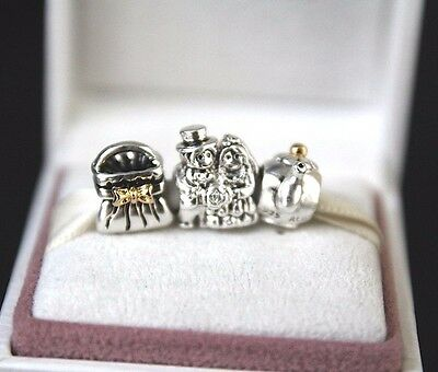 Pandora Bow Purse, MR. & MRS. and Teapot Charm Bead Authentic Silver 14k Gold US