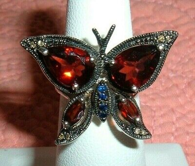 STERLING SILVER Butterfly Ring Size 5 Pear Shape Garnets and/or CZ Stones Unique Garnet Sterling Silver Butterfly Ring