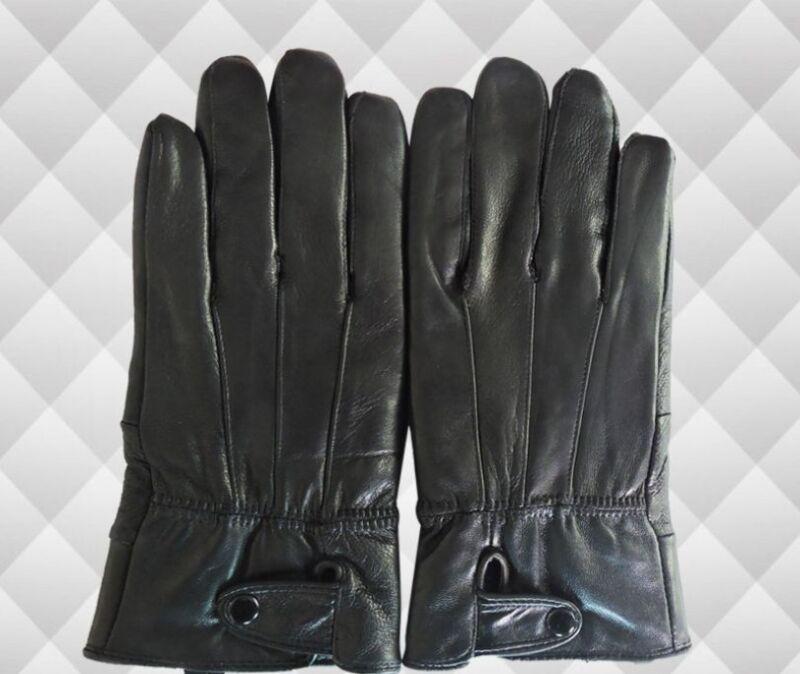 Alpine NEW Men's Gloves Genuine Leather Warm Thermal Lined Wrist Strap Black