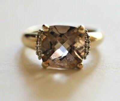 QVC 9ct Yellow Gold Smokey Quartz & Diamond Ring - Size N