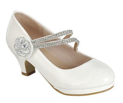 Girls Flower Girl Shoes (New girl's kids formal dress wedding shoes White shiny rhinestones flower)