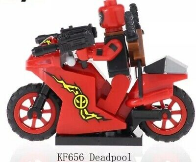 Custom Deadpool on a motorcycle MINIFIGURE THAT GOES WITH LEGO USA SELLERr