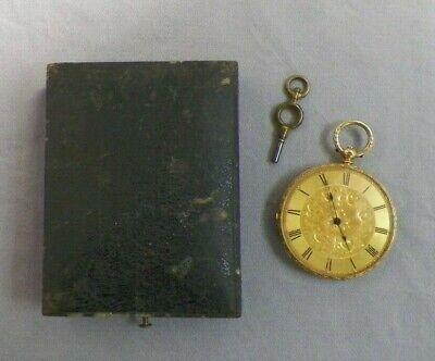 Old Vtg 18K Gold Baume Geneve Key Wind Pocket Watch Enameled Back Original Box