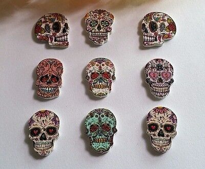Lot Of 10 Sugar Skull 2 Hole Wooden Buttons About 1  Each Scrapbook Doll  6042