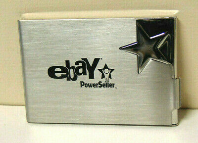 eBay Power Seller Business Card Case With Box Chrome Shooting Star 2005 Vintage