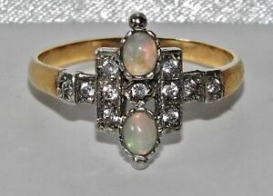 Art Deco 9ct Yellow Gold on Silver Natural Opal & Zircon Cluster Ring size N