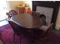 Hardwood Vintage Table and 4 Chairs