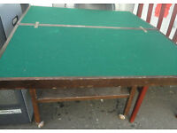 USED STURDY CONDITION, A NICE DARK WOODEN DRINKS TROLLEY/CARD TABLE ON WHEELS