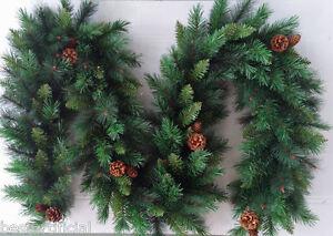 Best Artificial 9ft Luxury Christmas Garland with Pine Cones Indoor Xmas 215Tips