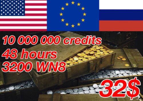 World Of Tanks, 10 000 000 credits, 3200+ WN8, 60% winrate | NOT BONUS CODE