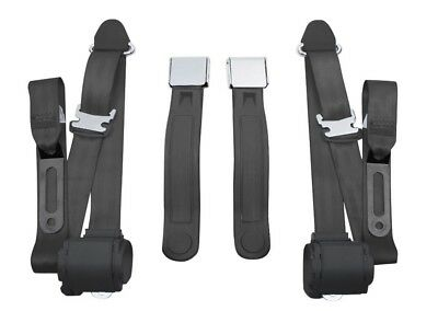 1968-73 Mustang Front 3 Point Conversion Seat Belts, Lift Latch Black 73 Mustang Seat Belts