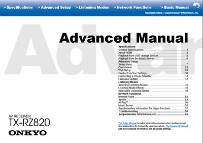 Onkyo TX-RZ820  AV Receiver Owner's Manual - Operating Instructions - Full Color