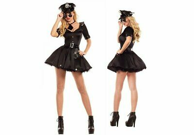 Women's Sexy Police Uniform Halloween Costume Fancy Dress 5 Piece Outfit Set
