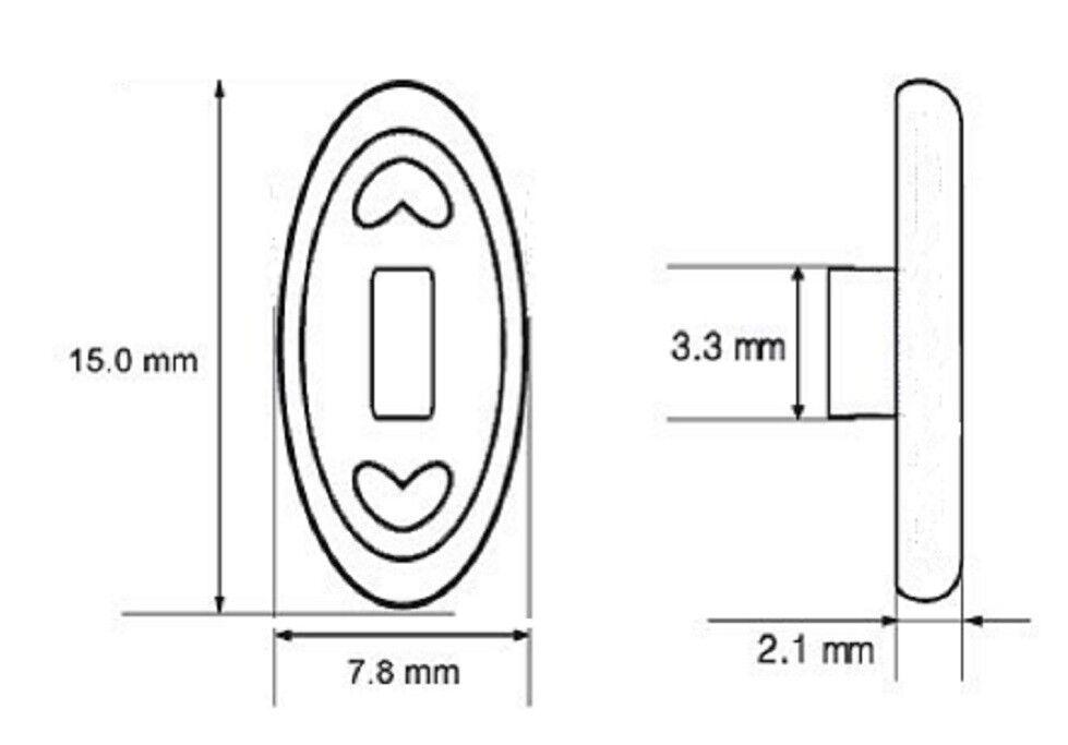3 Paar (6 Stück) Nasenpads Brillenpads 15mm oval - Silikon Klicksystem,