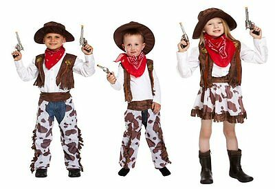Kids Childrens Cowboy Cowgirl Fancy Dress Up Wild West Costume Ages 1 - 12 (Kids Dress Up Cowboy Kostüme)