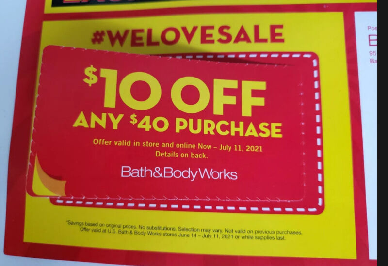 Bath & Body Works Coupons Lot Of 2 $10 off $40 BBW exp 7/11/21 E-delivery