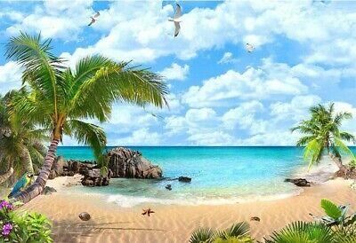 Beach Theme Background (7x5FT Hawaii Tropical  Beach theme Sandy island  backdrop wedding )