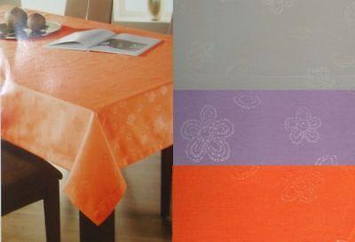 Jacquard Tischdecke florales Muster 130 x 160 cm rechteckig lila creme orange Orange Floral Muster