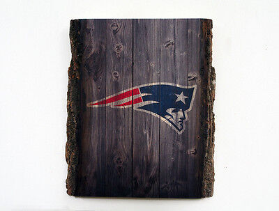 NEW ENGLAND PATRIOTS Wood Sign - Natural Edge Wooden Plaque with Patriots Logo
