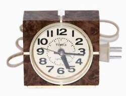 Vintage Timex Alarm Clock 1970s Model 7417-4 Brown Cream