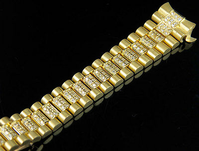 Ladies President Diamond Watch Band for Rolex Day-Date in 18K Yellow Gold 4.0 Ct