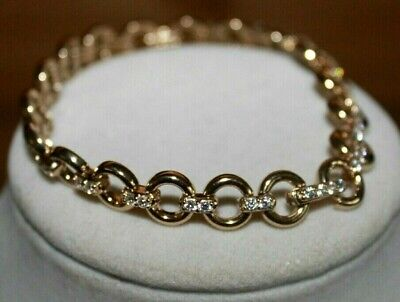 NEW DIAMONIQUE 14K Clad Sterling Silver Circle and Pave Link Bracelet 7 3/4
