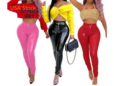 (USA  Women High Waist Zipper Vinyl Leather  Casual Party Pencil Pants Trousers)