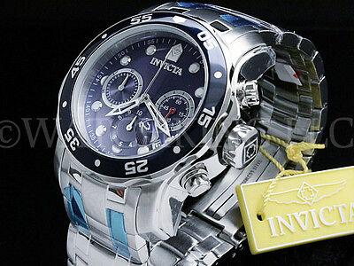 Invicta Men 48 MM Pro Diver Scuba Blue Dial Chronograph  S.S Bracelet Watch (Matt Scuba)