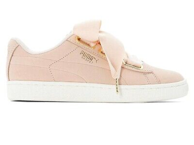 Puma Basket Heart Patent Peach Pink Womens Trainers Size 4