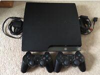 PlayStation 3, 250GB slim, plus 2 controllers