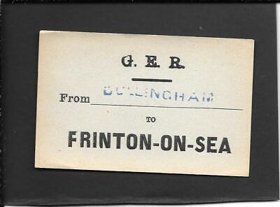 DULLINGHAM / FRINTON ON SEA - GREAT EASTERN RAILWAY - LUGGAGE LABEL...