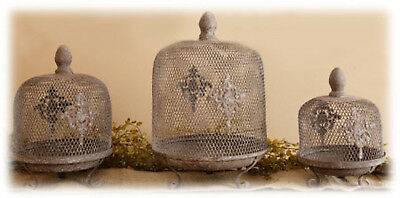 French Country Metal Wire Cloche Dome Set/3 Home Wedding Farmhouse Decor NEW