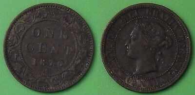 1876H CANADA LARGE 1 CENT GRADED AS FINE