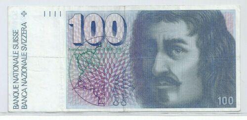 SWITZERLAND 100 FRANCS BANKNOTE #82Q1362986 Pick# 57 TSCHENT FRANCS Sixth Series