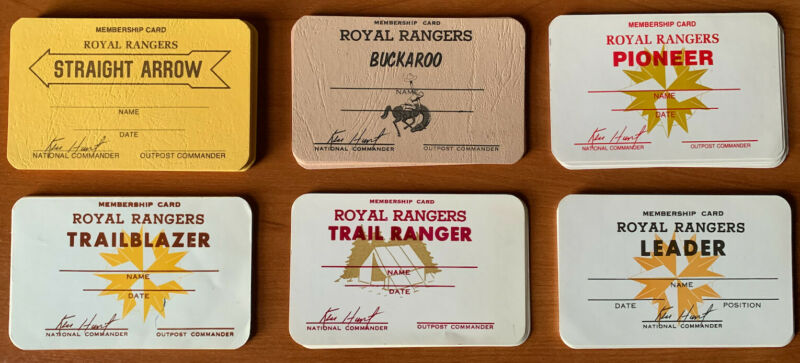 Royal Rangers Old Group Name Membership Cards NOS