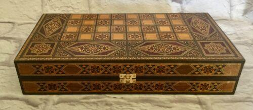 Vtg. Syrian Wood Inlaid Marquetry Backgammon Set
