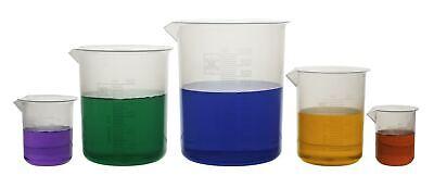 Plastic Beaker Set Of 5 Polypropylene - 50ml 100ml 250ml 500ml And 1000ml