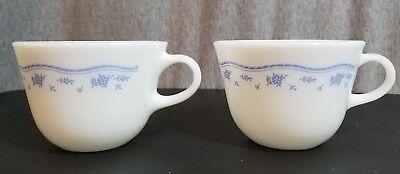 VINTAGE CORNING PYREX MILK GLASS MORNING BLUE PATTERN LOT OF 2 COFFEE MUGS CUPS