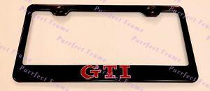 GTI 3D Emblem VOLKSWAGEN Stainless Steel Black License Plate Frame Rust Free