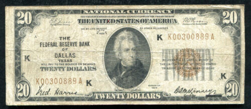 FR. 1870-K 1929 $20 FRBN FEDERAL RESERVE BANK NOTE DALLAS, TX SCARCE