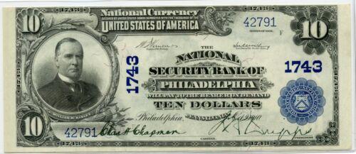 Genuine Series 1902 The National Security Bank Of Philadelphia,PA $10 Plain Back