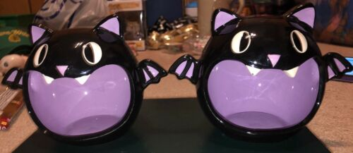TARGET EXCLUSIVE HALLOWEEN BLACK AND PURPLE BAT CANDY DISH LOT OF 2