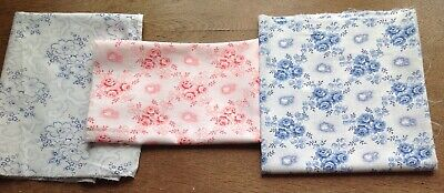 set of 3 1920s antique romantic floral fabrics vintage patchwork quilting roses
