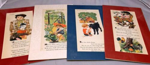4 Matted Feodor Rojankovsky Nursery Rhyme Prints, 1942, Ready to Frame