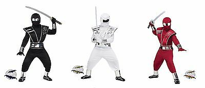 New Black Red White Mirror Totally Ghoul Ninja Boys Halloween - White Ninja Halloween Costume