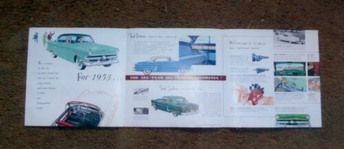 Colorful 1953 Ford Automobile Brochure, Opens to 25  x 8 ¼ Inches