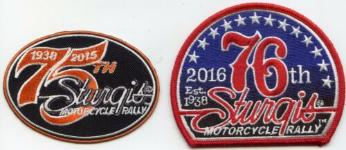 75th & 76th STURGIS SOUTH DAKOTA MOTORCYCLE RALLY 2 patches not police PATCH