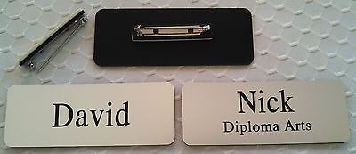Employee Name Tags Engraved 3.25x1.25 Rounded Corners Silver Pin Attachmnt