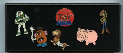 Older Disney Pixar Studio Store Toy Story Woody Buzz Slinky Hamm Cast Pin Set